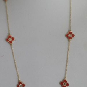 """Beautiful Gold Plated 36"""" Long Necklace,Red clover"""